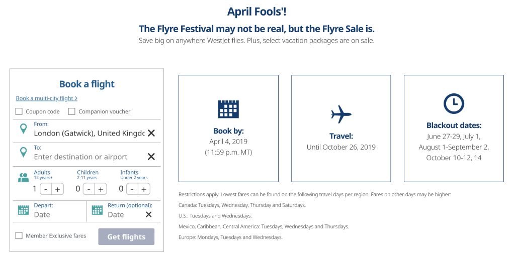 WestJet's April Fools' prank leads to their Flyre Sale landing page
