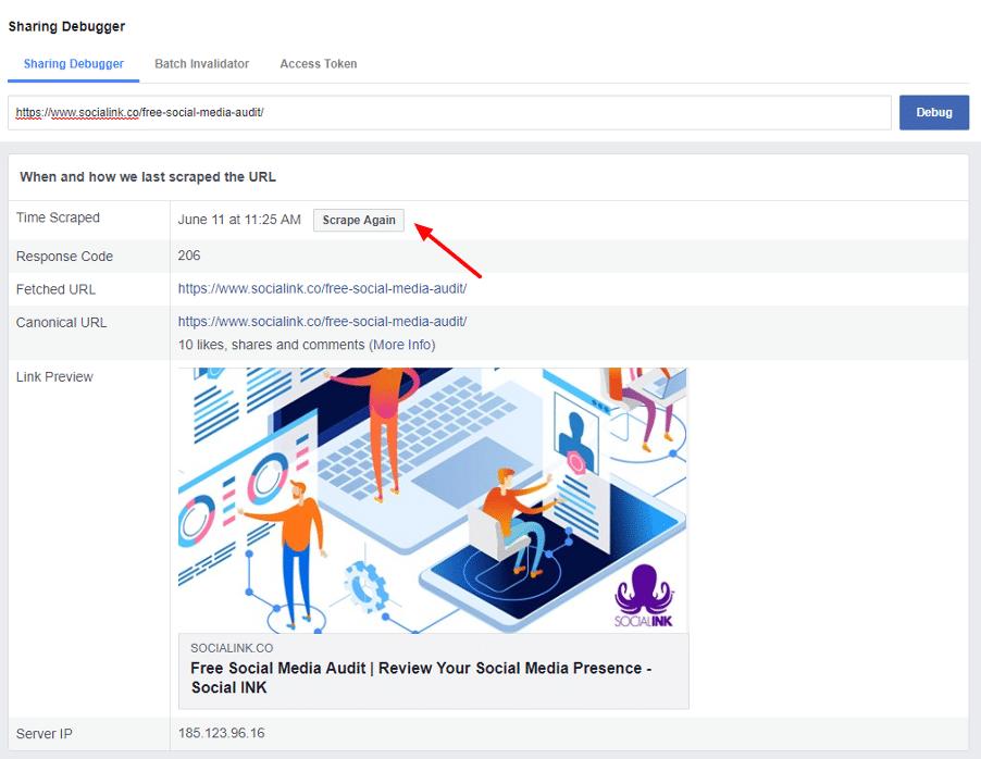 how to fix link previews - FB Debugger 2