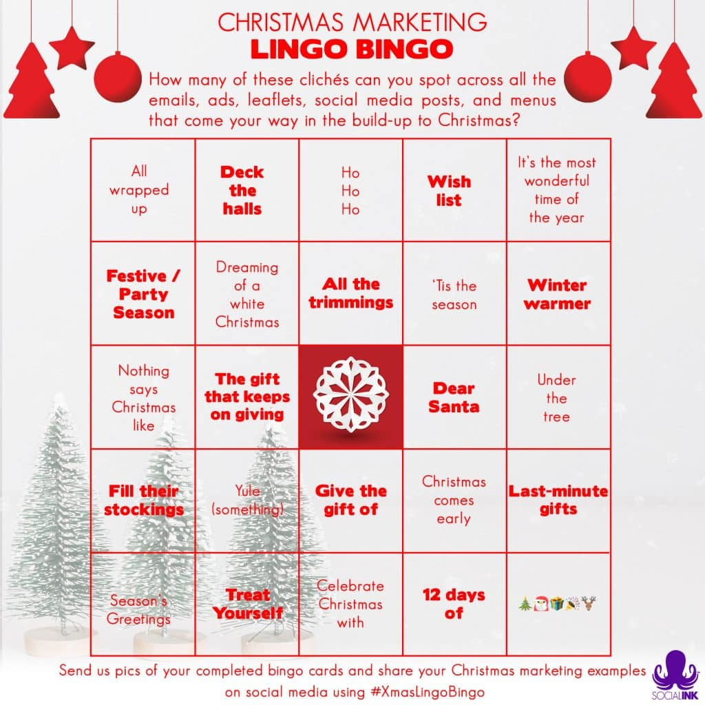 Social INK Christmas Marketing Lingo Bingo Card
